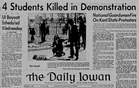 the reactions of the people towards the kent state university shooting of may 4 1970 President of kent state university beverly j warren delivers her lecture   reflecting and redefining of the may 4, 1970, shootings at her 10:45  on may 1,  1970, when protests erupted in reaction to the united state's  and we will raise  our voices using lessons of may 4, 50 years ago, to convene people,.